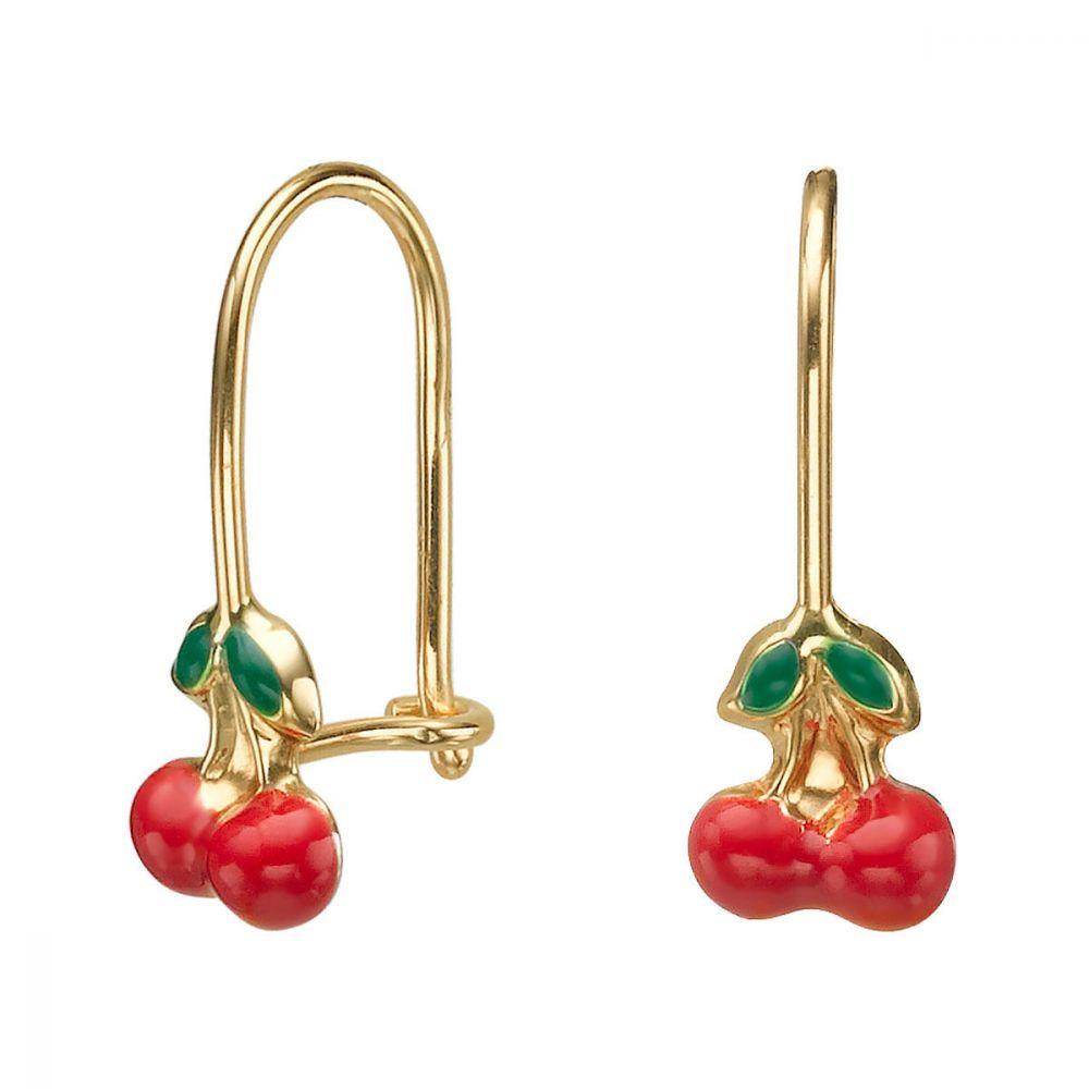 תכשיטים מזהב לילדות | עגילי זהב תלויים - שרי-שרי