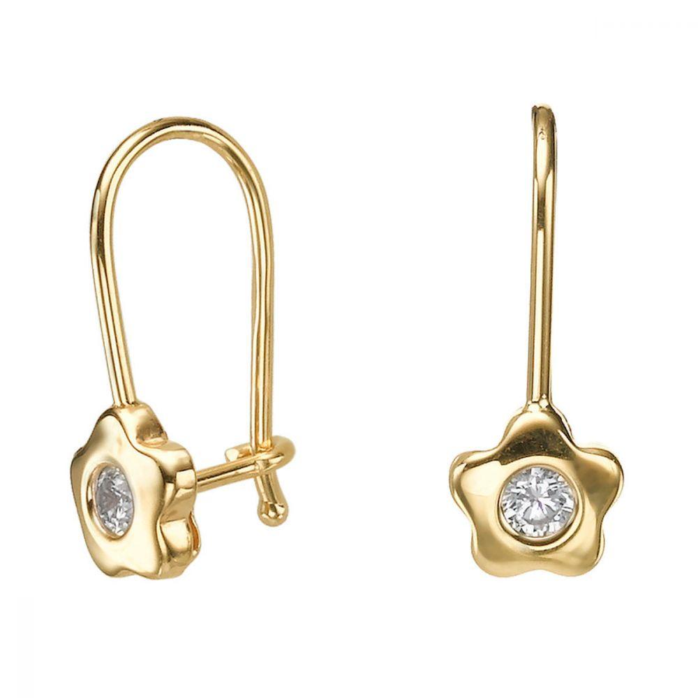 תכשיטים מזהב לילדות | עגילי זהב תלויים - פרח אנאבל