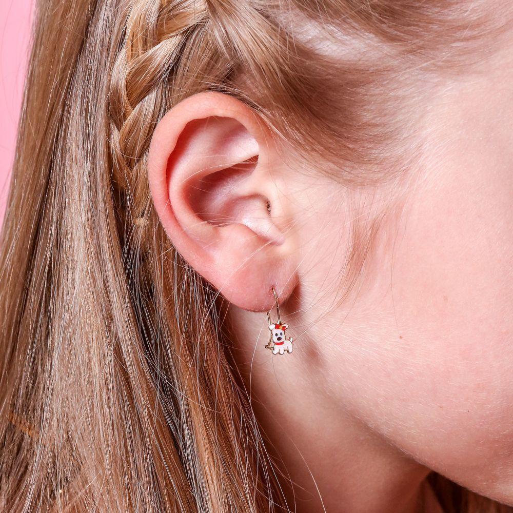 תכשיטים מזהב לילדות | עגילים תלויים מזהב צהוב 14 קראט - כלבלבה לינדה