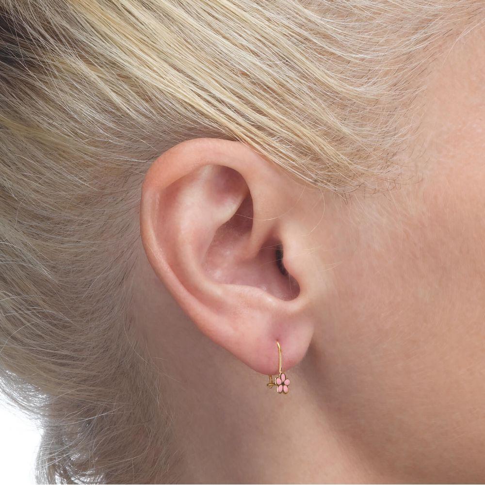 עגילי זהב | עגילים תלויים מזהב צהוב 14 קראט - פרח לוטן