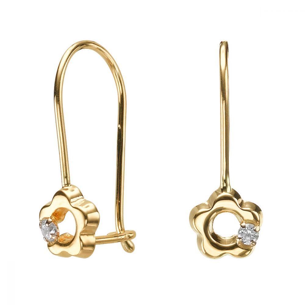 עגילי זהב | עגילים תלויים מזהב צהוב 14 קראט - פרח לני