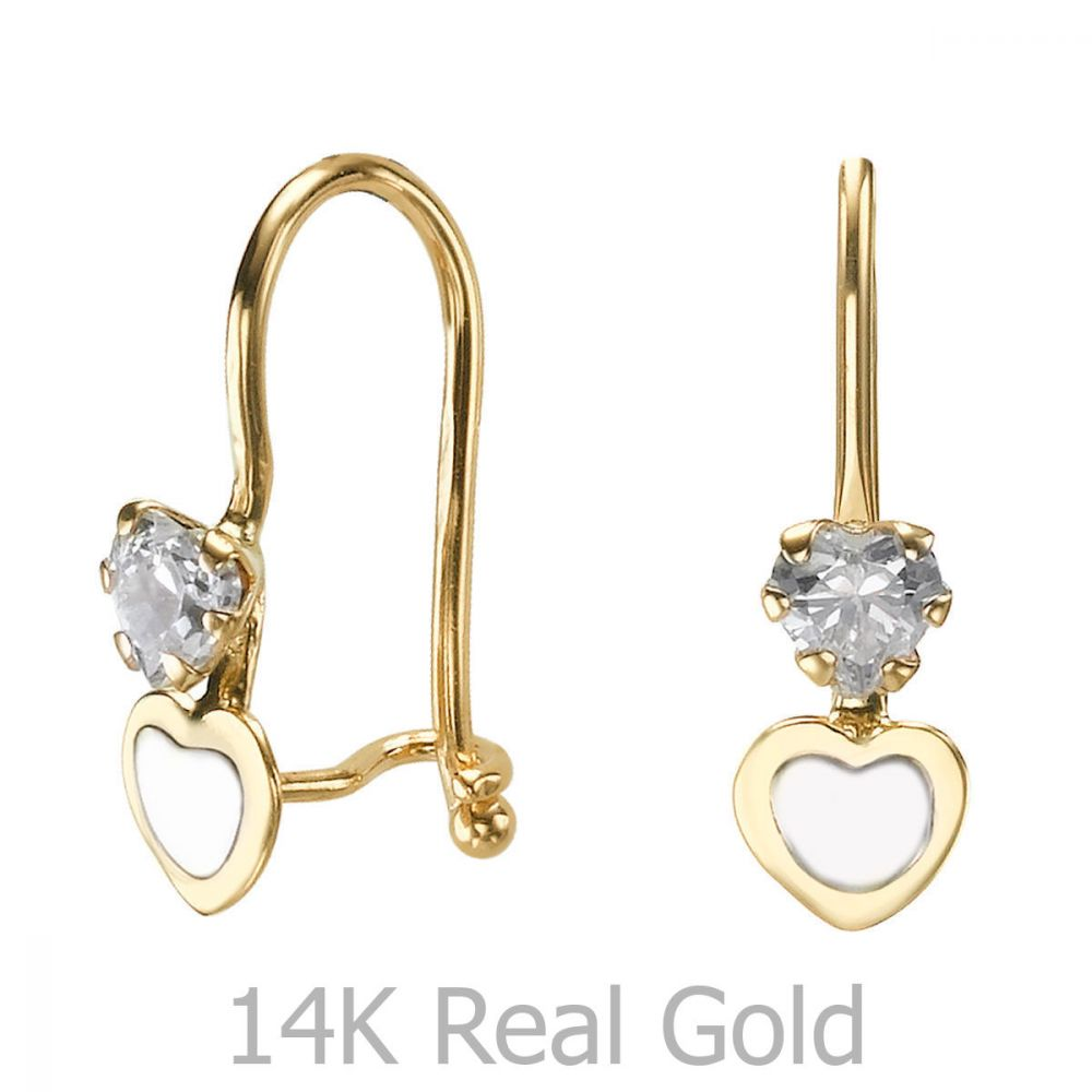 עגילי זהב | עגילים תלויים מזהב צהוב 14 קראט - לב טריפל לאב