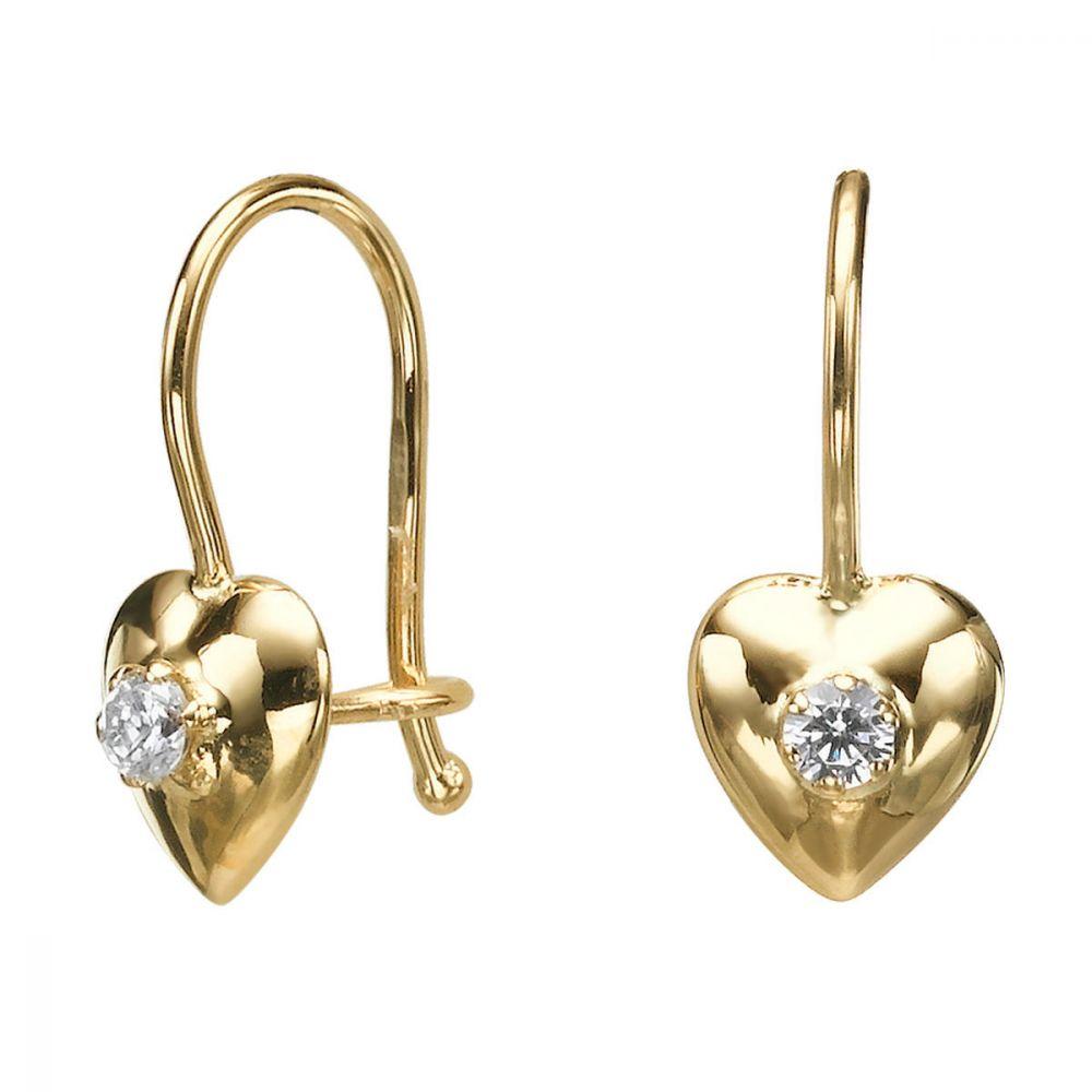 עגילי זהב | עגילים תלויים מזהב צהוב 14 קראט - לב סופר-גירל