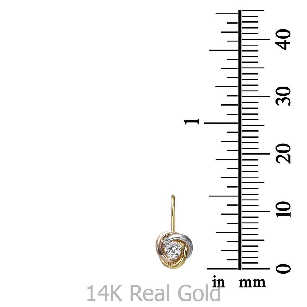 תכשיטים מזהב לילדות | עגילי זהב תלויים - עיגולים מריאן (גדולים)
