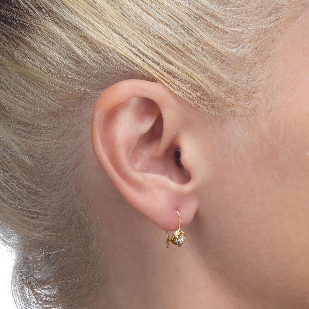 תכשיטים מזהב לילדות | עגילי זהב תלויים - עיגולים מרי (קטן)