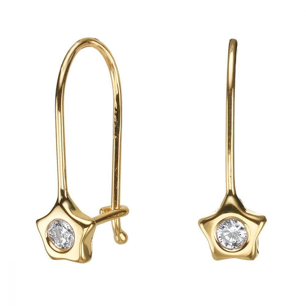 תכשיטים מזהב לילדות | עגילים תלויים מזהב צהוב 14 קראט - כוכב פלוטו