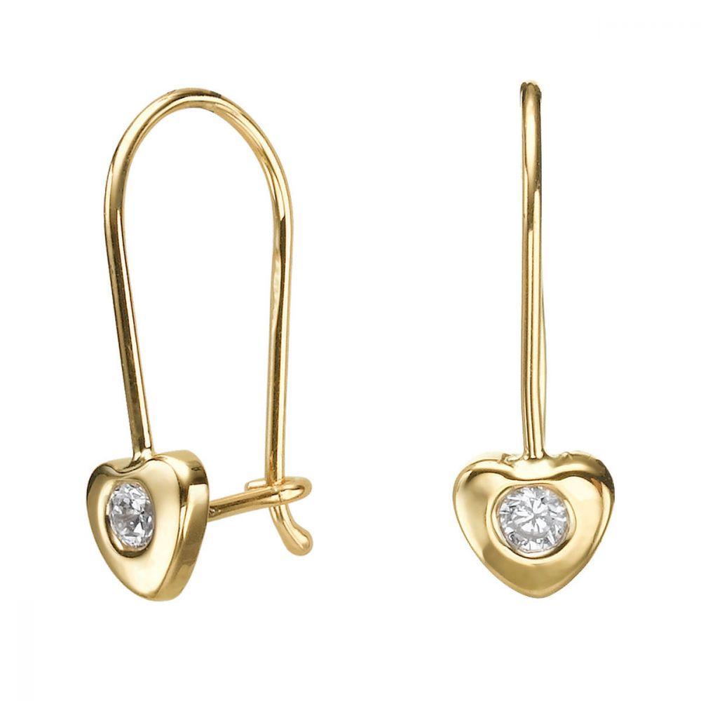 תכשיטים מזהב לילדות | עגילי זהב תלויים - לב אריאנה