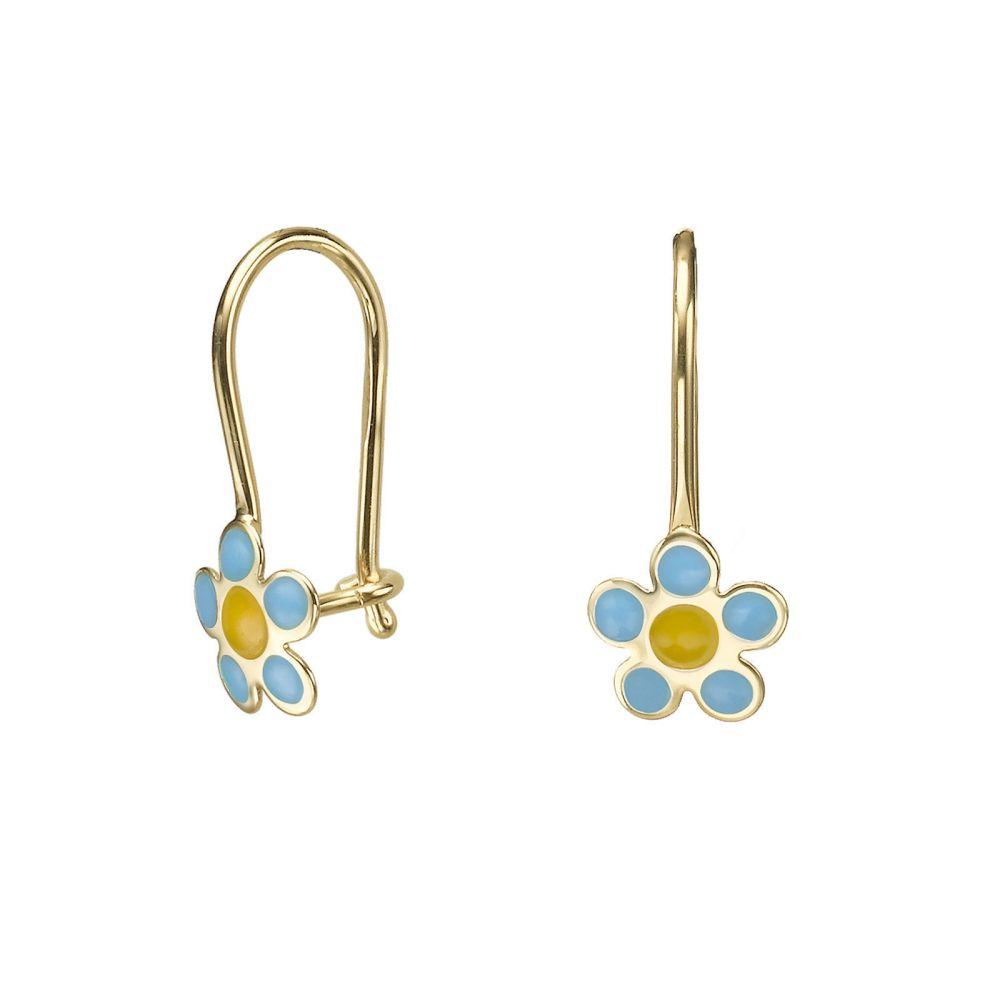 עגילי זהב | עגילים תלויים מזהב צהוב 14 קראט - פרח סייאה