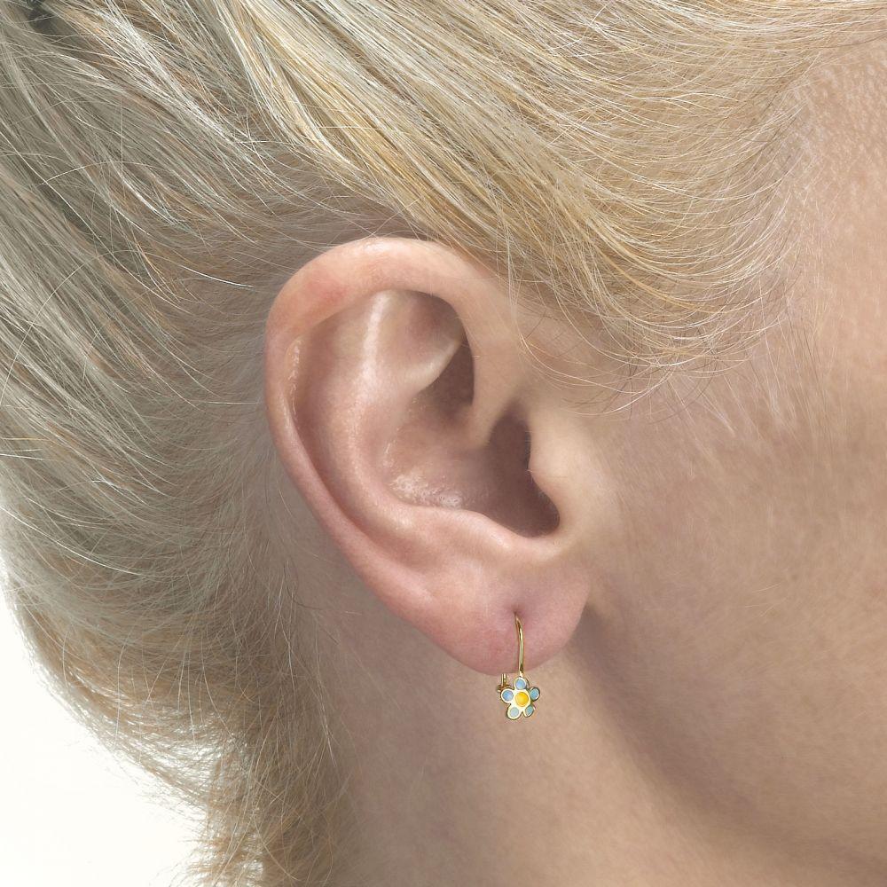 עגילי זהב | עגילי זהב תלויים - פרח סייאה