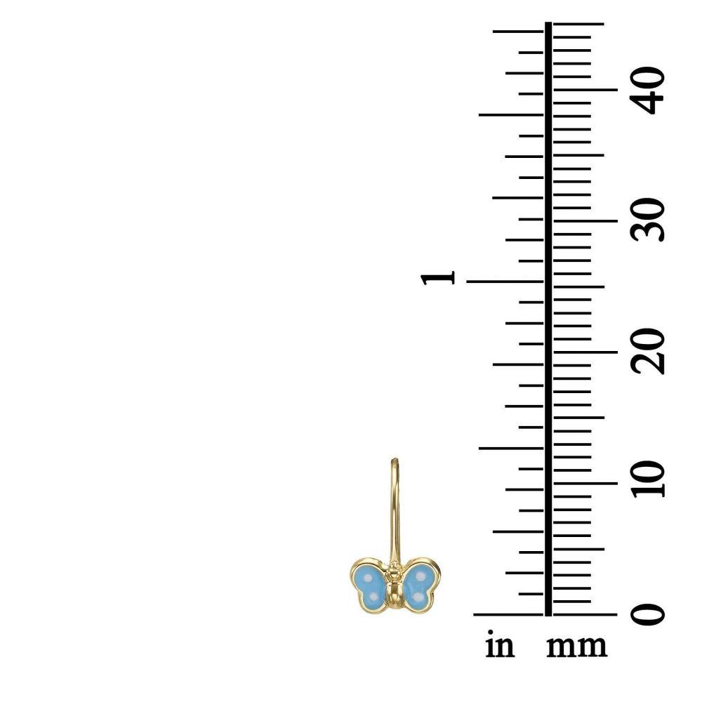 תכשיטים מזהב לילדות | עגילים תלויים מזהב צהוב 14 קראט - פרפר נועה - תכלת