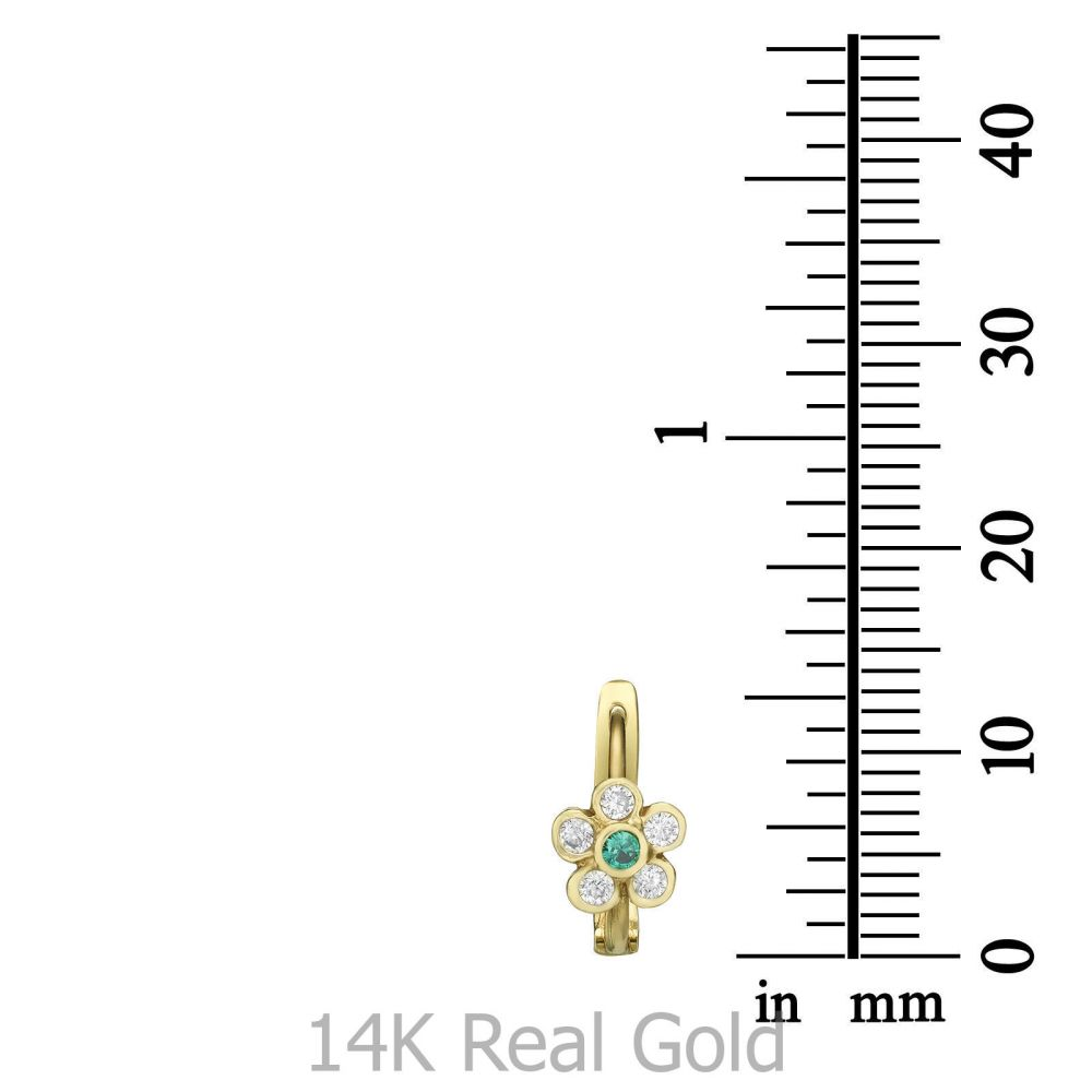עגילי זהב   עגילי חישוק תלויים מזהב - פרח קסם החורש