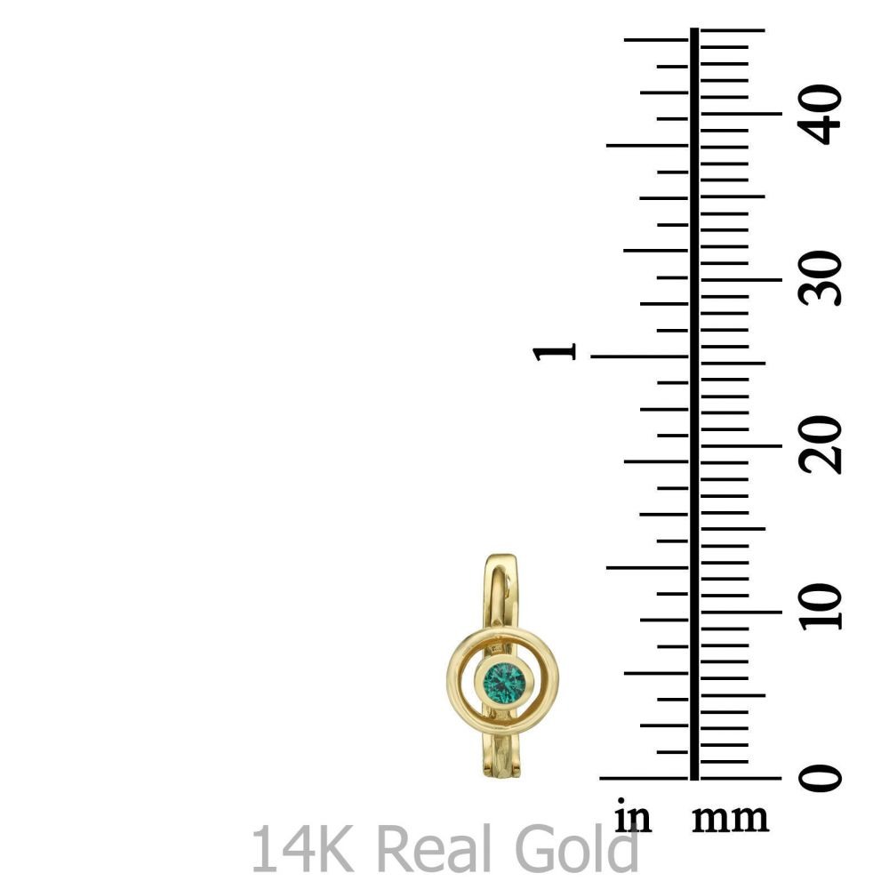 תכשיטים מזהב לילדות | עגילים תלויים צמודים מזהב צהוב 14 קראט - עיגול תמרה