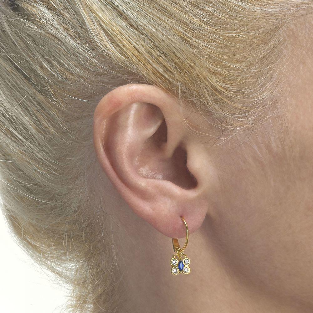 תכשיטים מזהב לילדות   עגילי חישוק וצ'ארם מזהב צהוב 14 קראט - פרפר ביאטריס