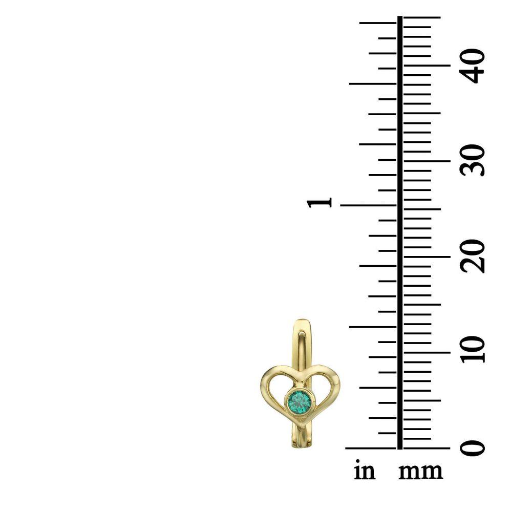 עגילי זהב | עגילים תלויים צמודים מזהב צהוב 14 קראט - לב סימי