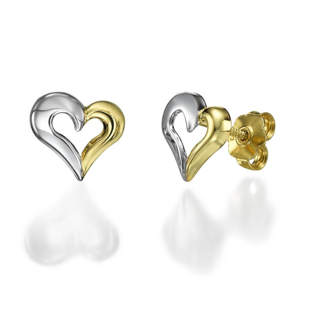 תכשיטים מזהב לילדות | עגילים צמודים מזהב צהוב ולבן - לב מאוחד