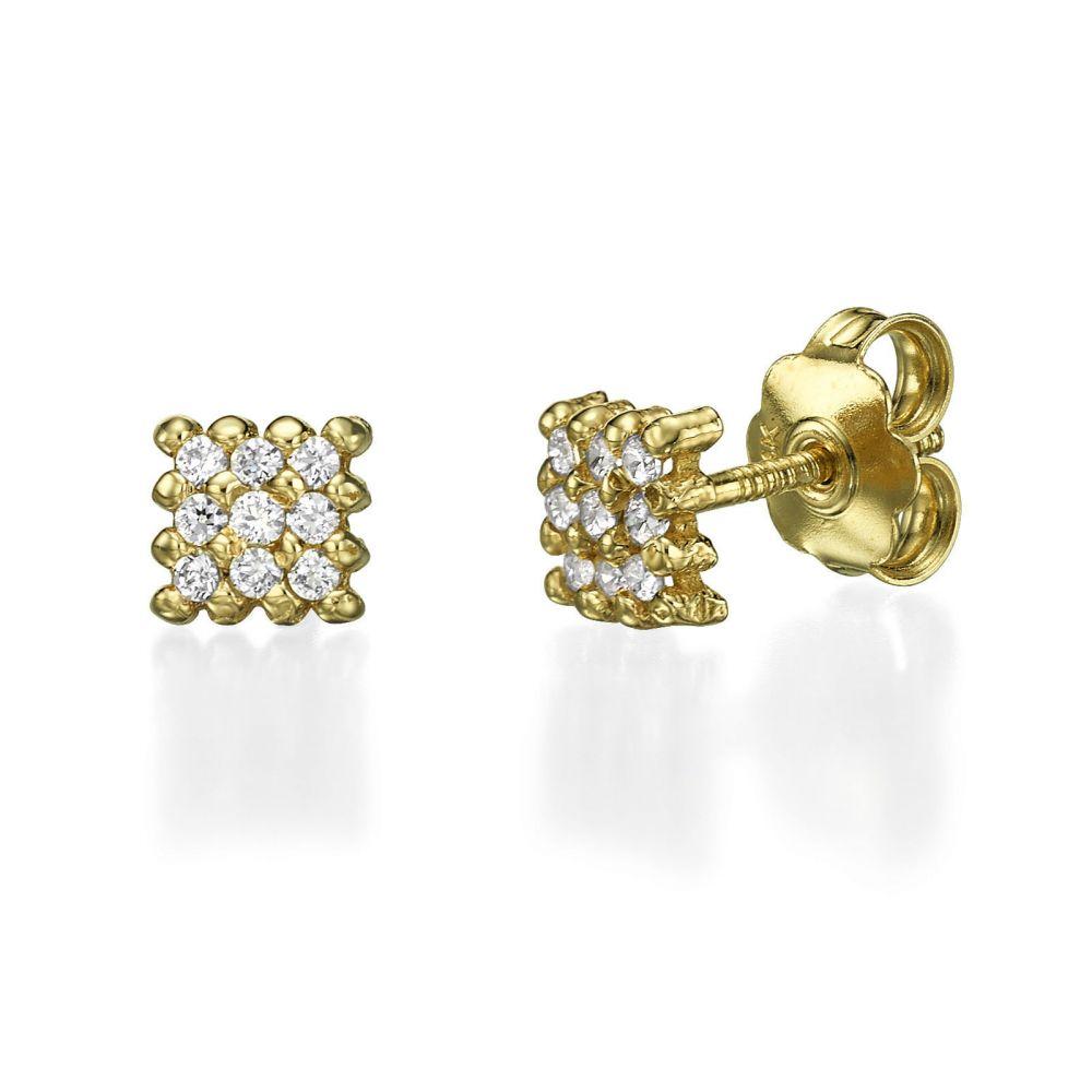 תכשיטים מזהב לילדות | עגילים צמודים מזהב צהוב  14 קראט - קסם