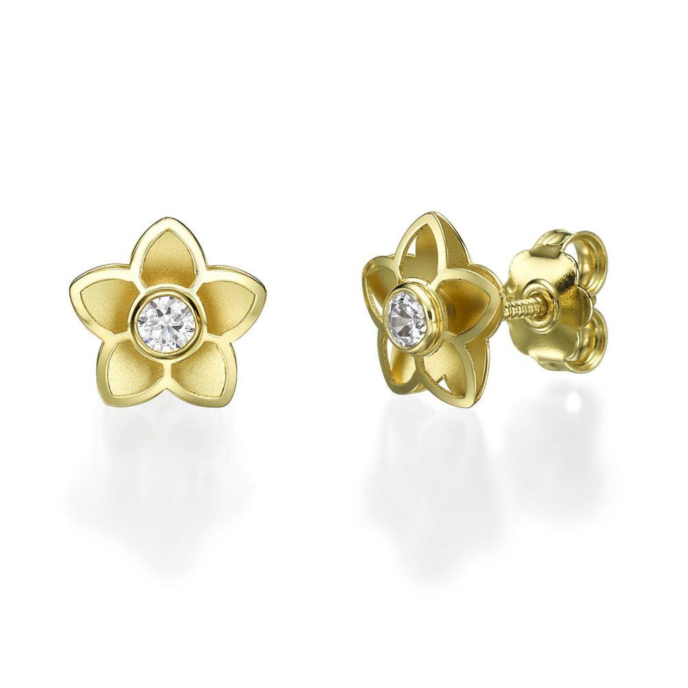 תכשיטים מזהב לילדות | עגילים צמודים מזהב צהוב 14 קראט - פלורי תלת-ממד