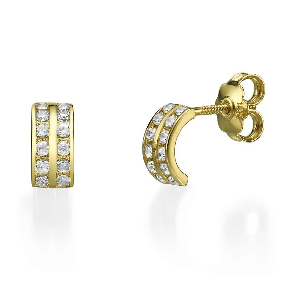 תכשיטים מזהב לילדות | עגילים צמודים מזהב צהוב 14 קראט - ריהאנה