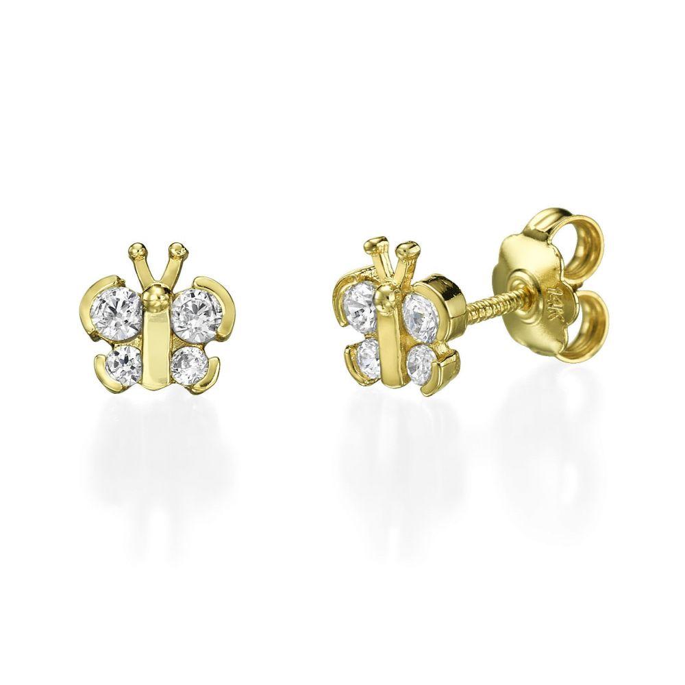 תכשיטים מזהב לילדות | עגילים צמודים מזהב צהוב - פרפר נוצץ