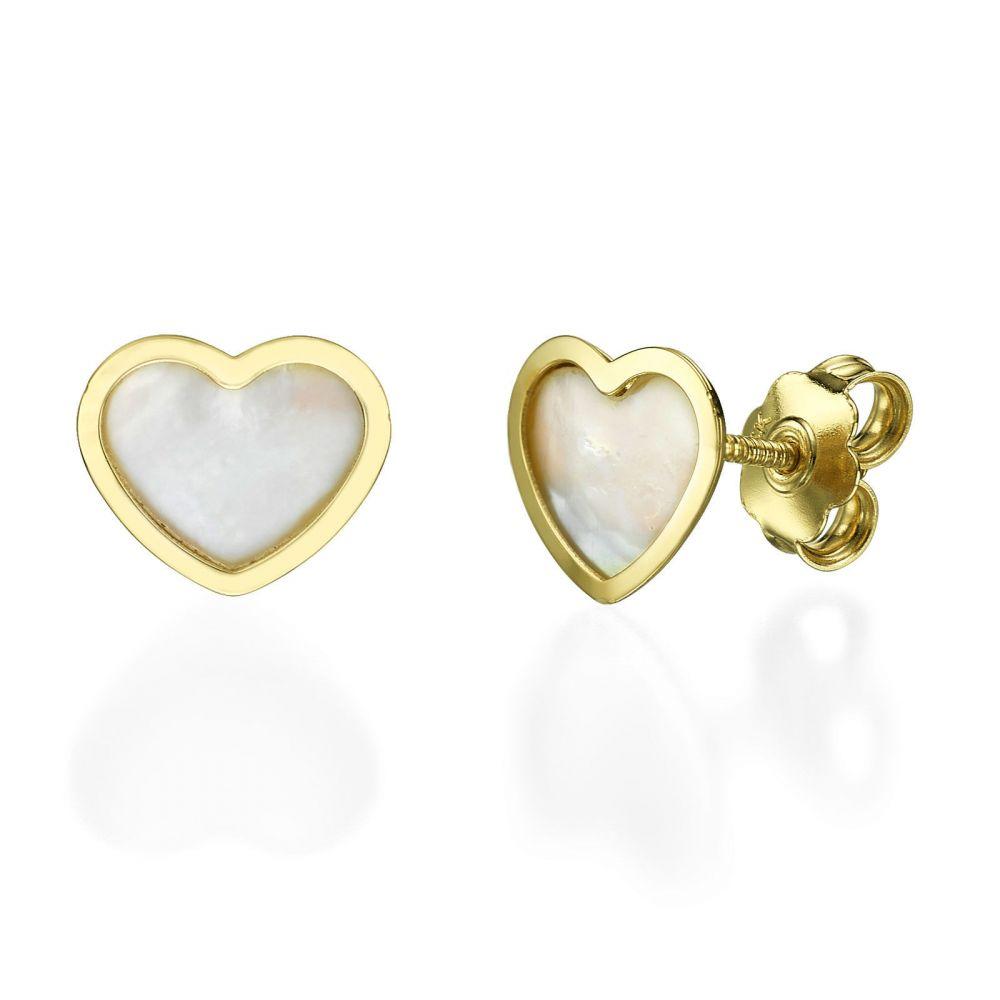 תכשיטי זהב לנשים | עגילים צמודים מזהב צהוב 14 קראט - לב הצדף