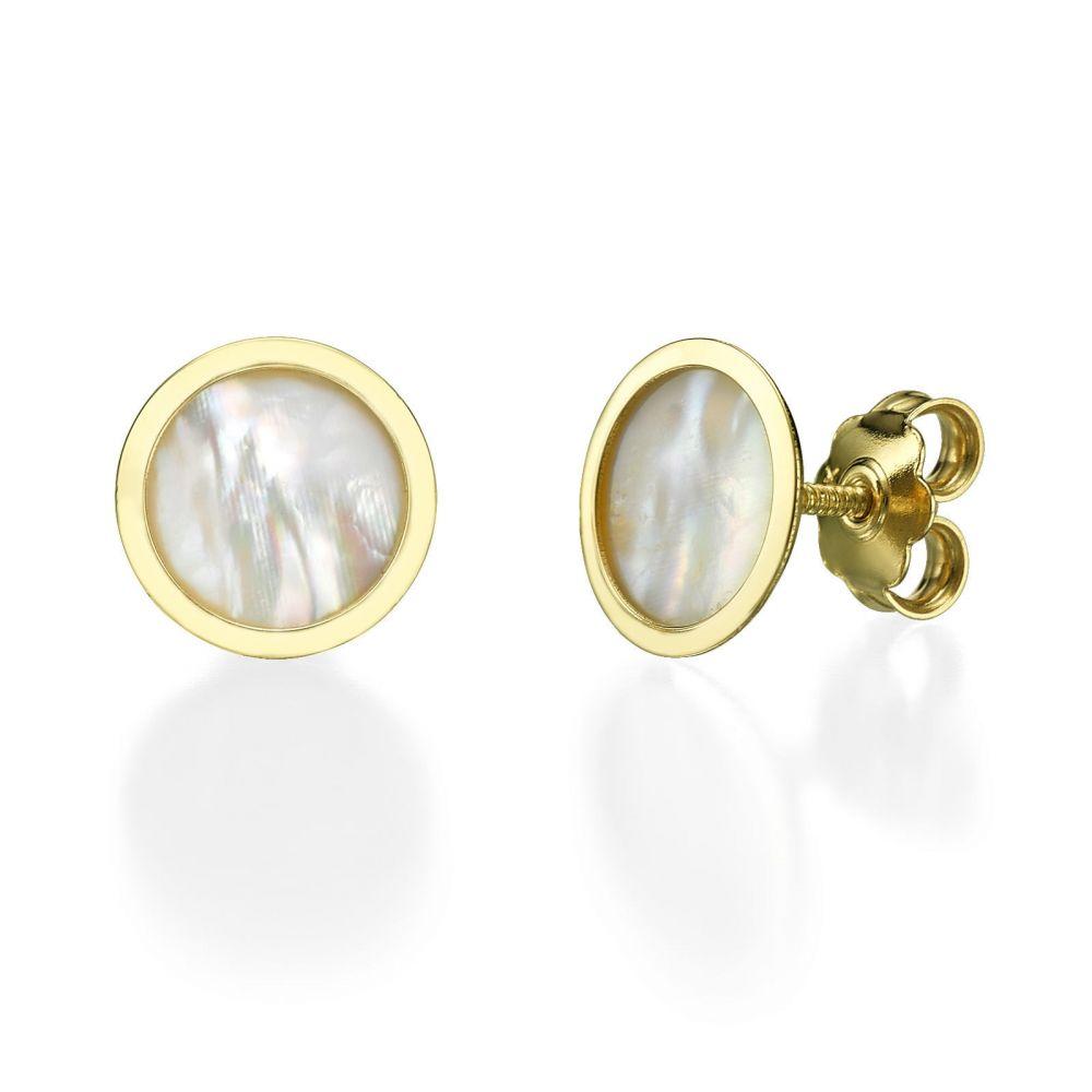 תכשיטים מזהב לילדות | עגילים צמודים מזהב צהוב - צדף עגול