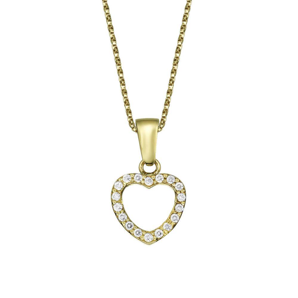 תכשיטים מזהב לילדות | תליון ושרשרת מזהב צהוב - לב מלכותי