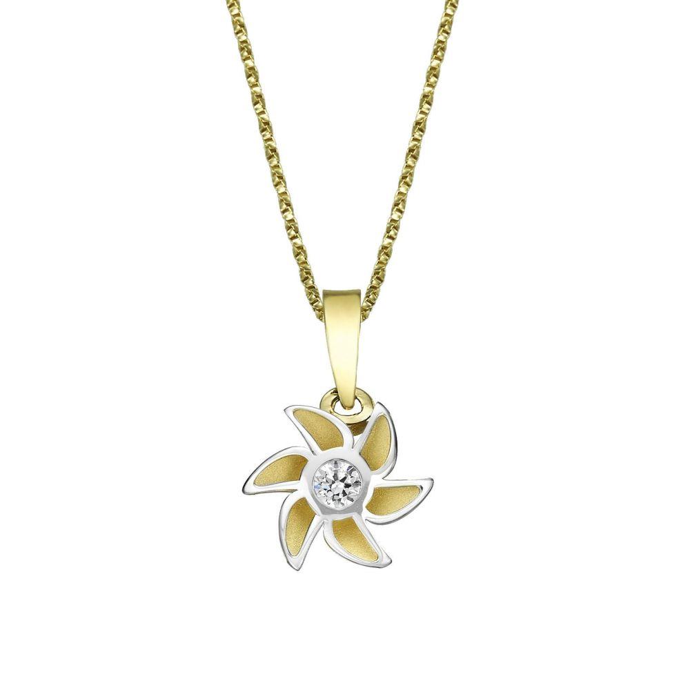 תכשיטים מזהב לילדות | תליון ושרשרת מזהב צהוב ולבן - פריחת האהבה