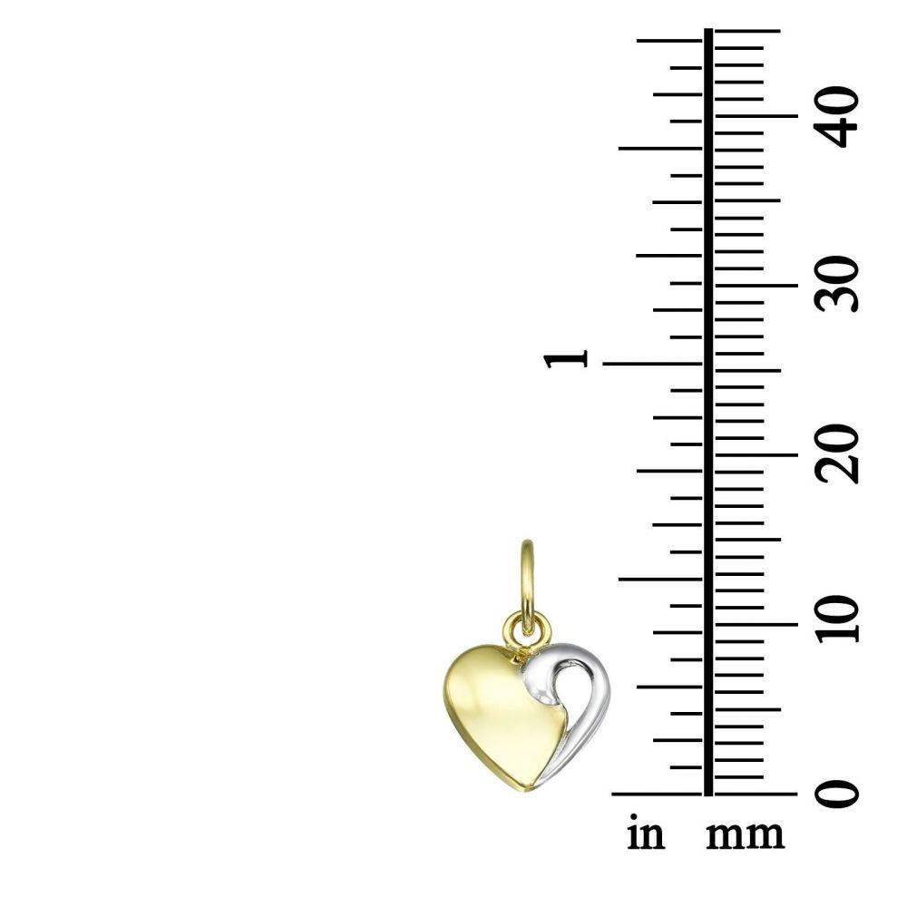 תכשיטים מזהב לילדות   תליון ושרשרת מזהב צהוב ולבן - לב מחובר