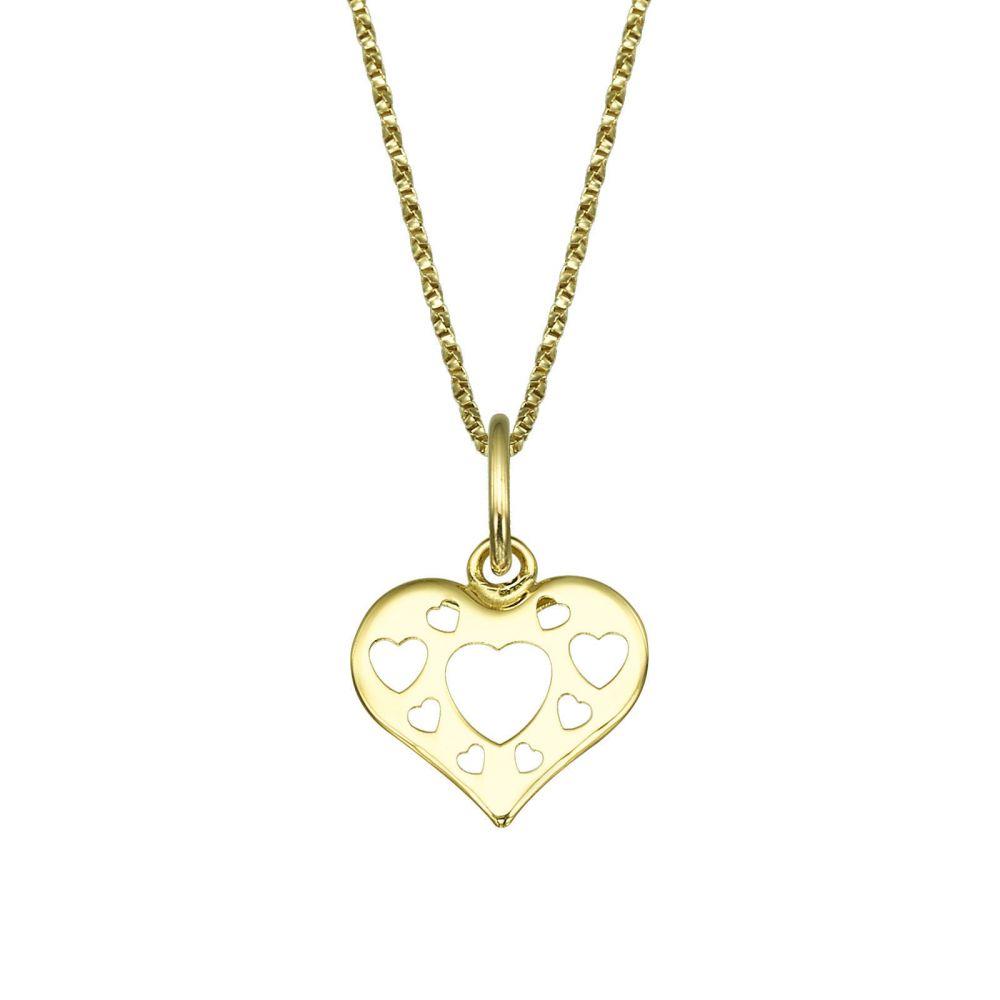 תכשיטים מזהב לילדות | תליון ושרשרת מזהב צהוב - לב מלא באהבה