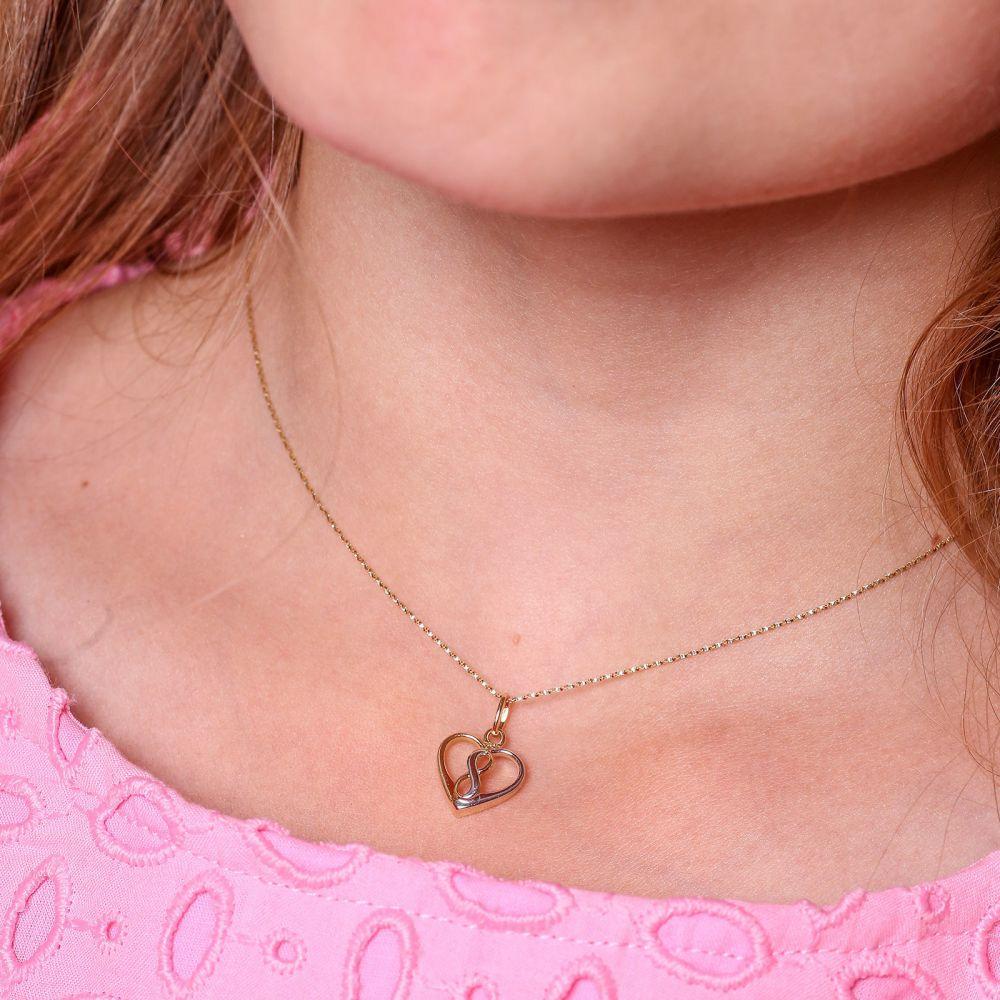 תכשיטים מזהב לילדות | תליון ושרשרת מזהב צהוב ולבן - לב קוסמי