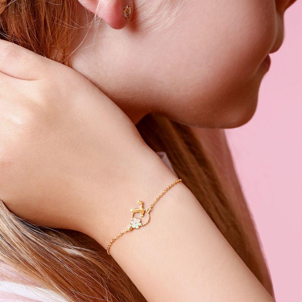 תכשיטים מזהב לילדות | צמיד זהב לילדה - יונה ופרח