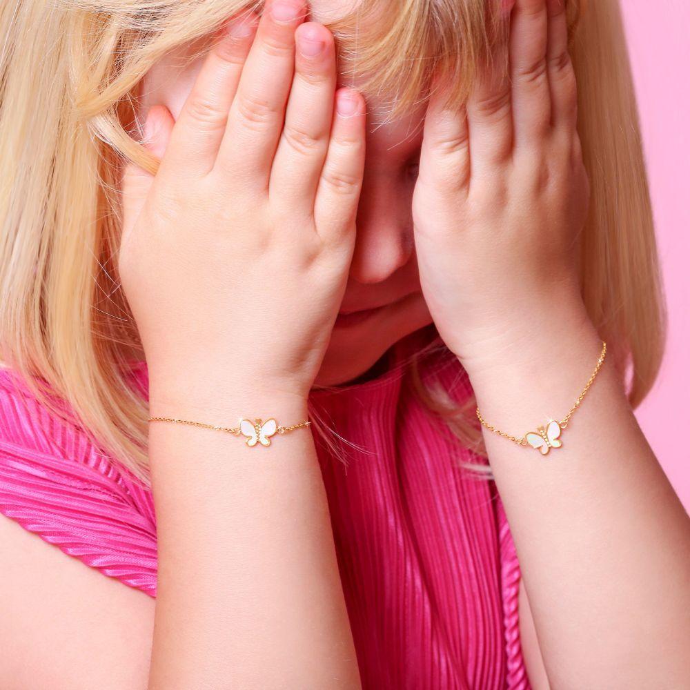 תכשיטים מזהב לילדות | צמיד לילדה מזהב צהוב 14 קראט - פרפר קסום