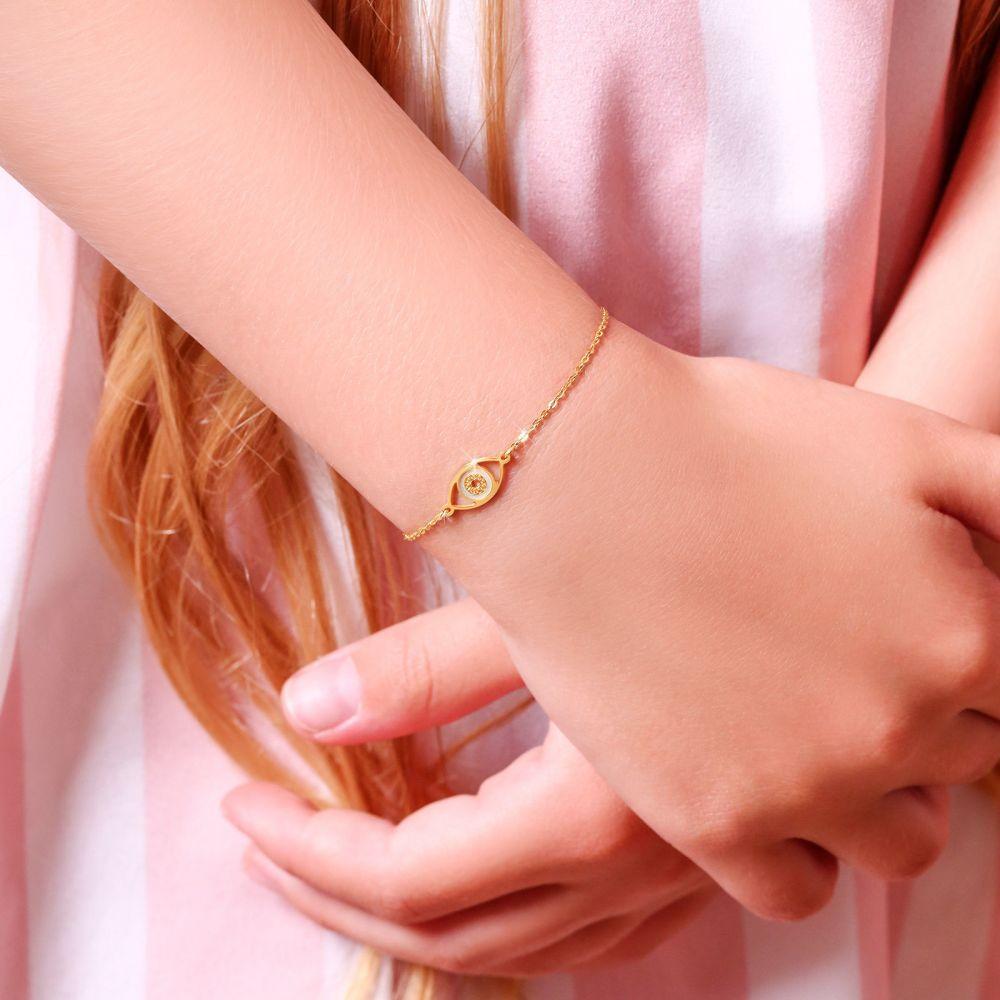 תכשיטים מזהב לילדות | צמיד לילדה מזהב צהוב 14 קראט - עין טובה