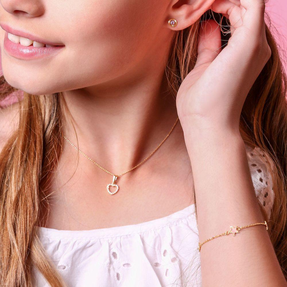 תכשיטים מזהב לילדות | צמיד לילדה מזהב צהוב 14 קראט - כוכבי אם הפנינה