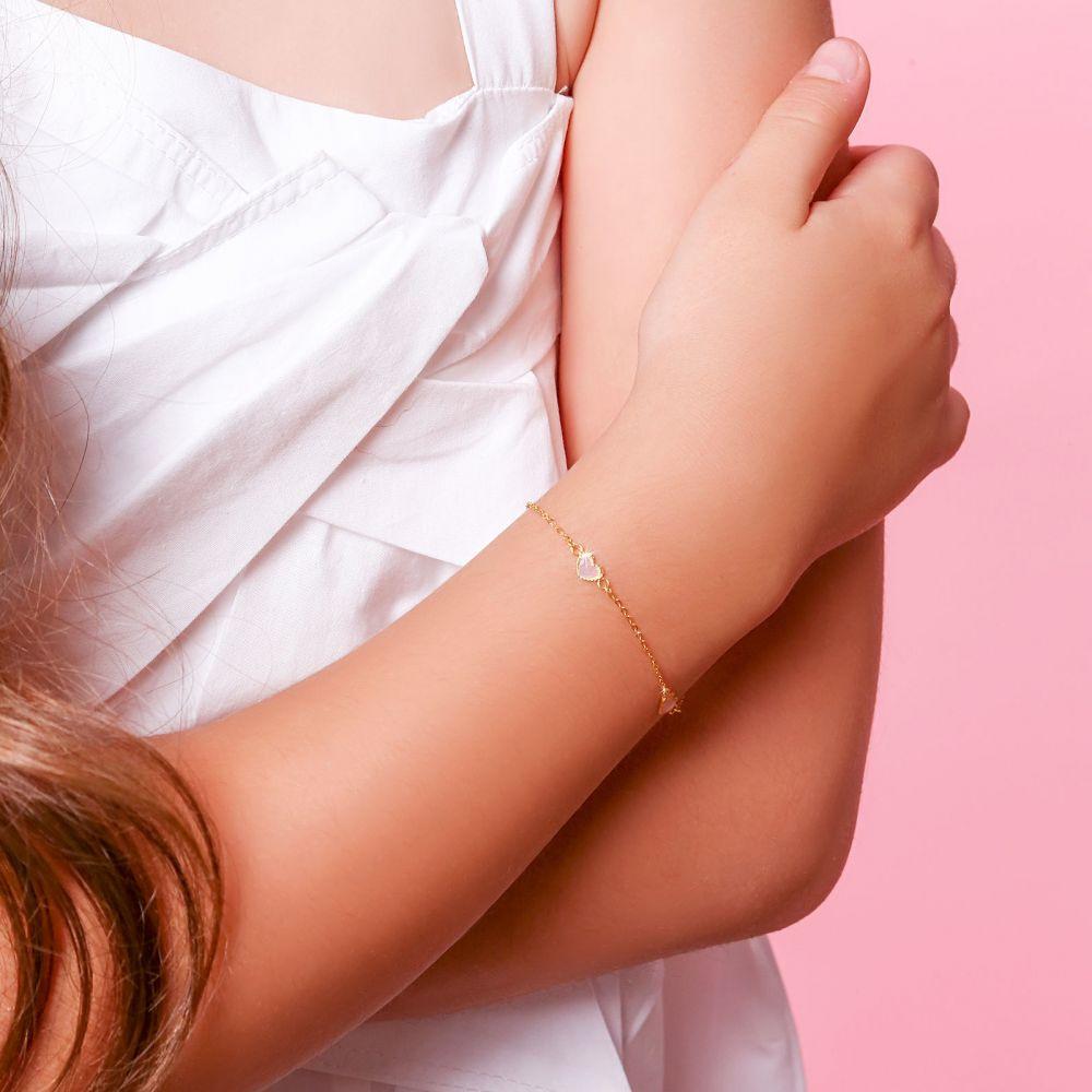 תכשיטים מזהב לילדות | צמיד לילדה מזהב צהוב 14 קראט - לבבות אם הפנינה - ורוד