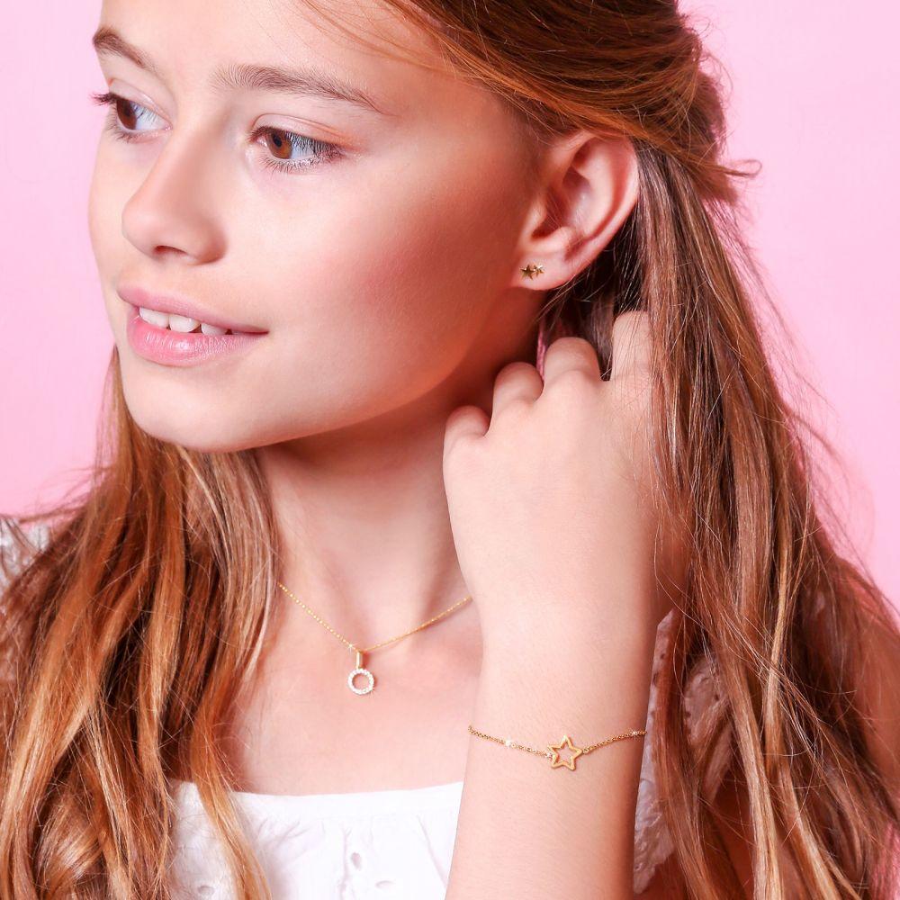 תכשיטים מזהב לילדות | צמיד לילדה מזהב צהוב 14 קראט - כוכבי זוהר
