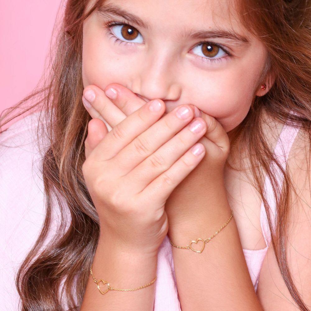 תכשיטים מזהב לילדות | צמיד לילדה מזהב צהוב 14 קראט - לב זוהר