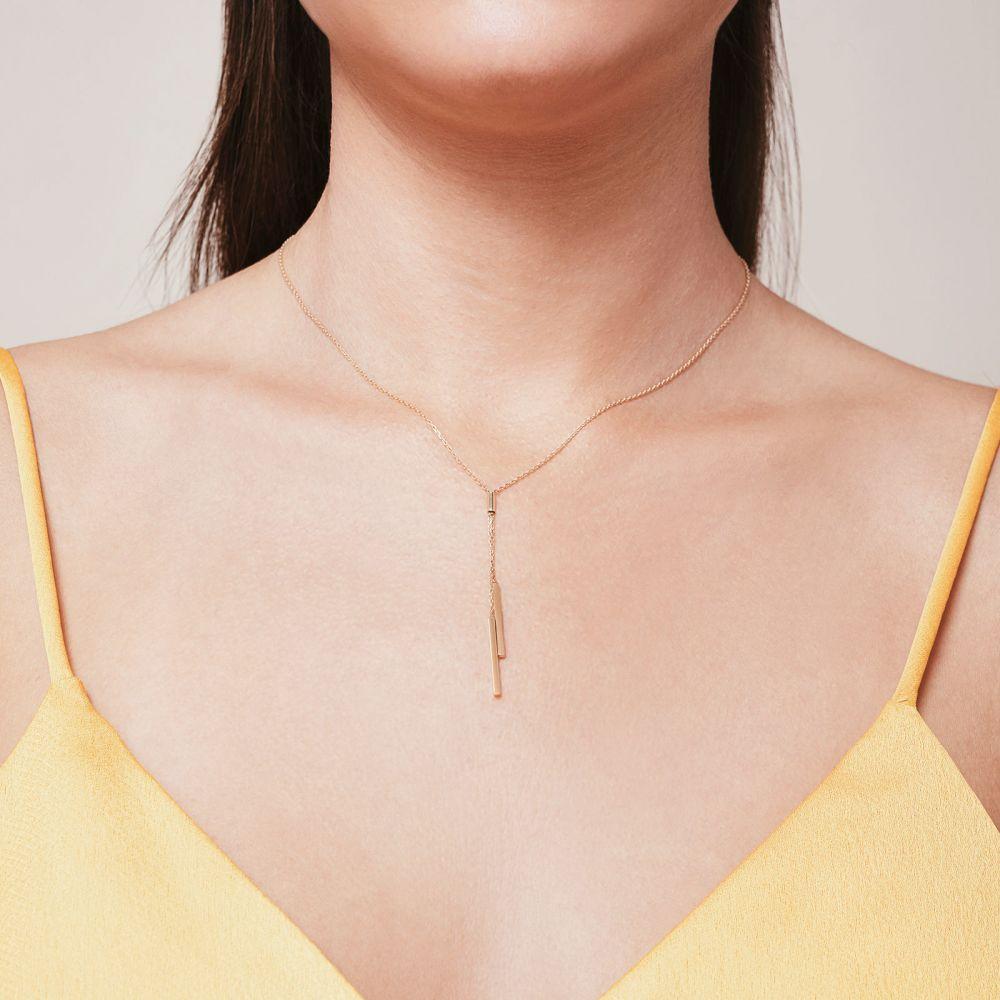 תכשיטי זהב לנשים | תליון ושרשרת מזהב לבן 14 קראט - לריאט