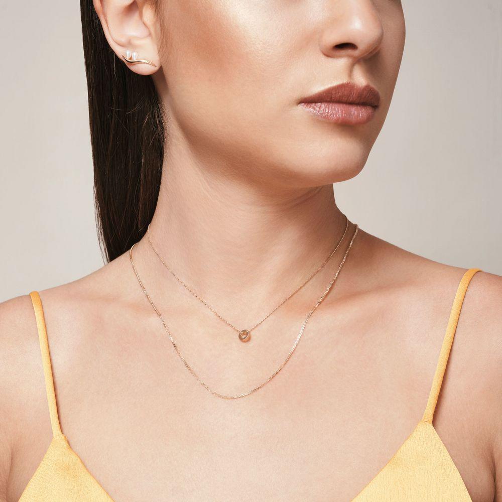 תכשיטי זהב לנשים | תליון ושרשרת מזהב לבן 14 קראט - עיגול זהב