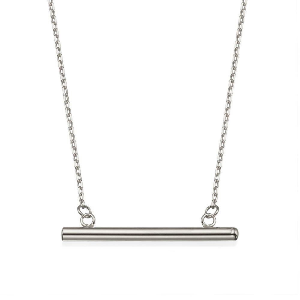 תכשיטי זהב לנשים | תליון ושרשרת מזהב לבן 14 קראט - צינור זהב
