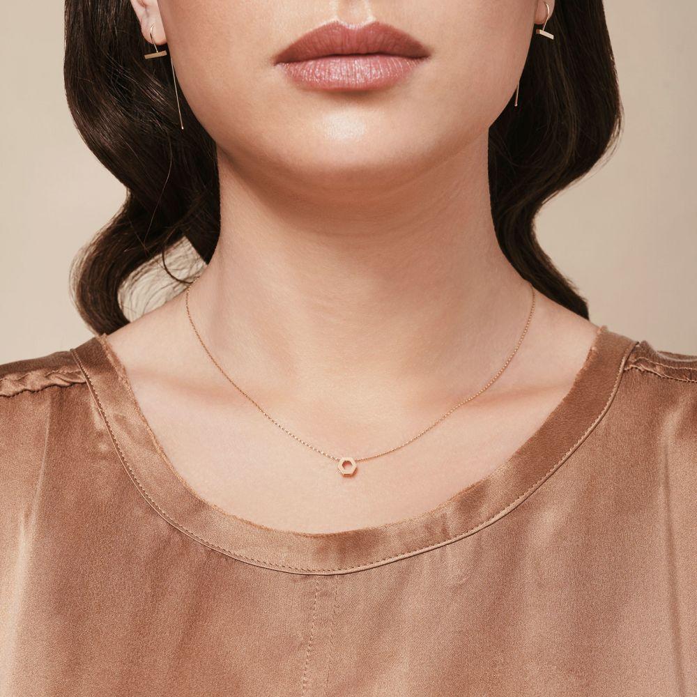 תכשיטי זהב לנשים | תליון ושרשרת מזהב לבן 14 קראט - הקסגון