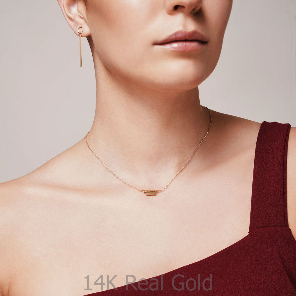 תכשיטי זהב לנשים | תליון ושרשרת מזהב לבן 14 קראט - צינורות הזהב