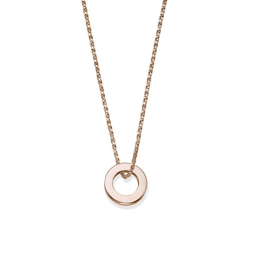תכשיטי זהב לנשים | תליון ושרשרת מזהב ורוד 14 קראט - עיגול זהב