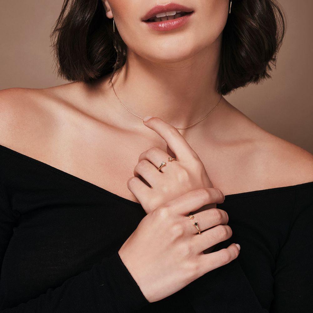 תכשיטי זהב לנשים | טבעת פתוחה מזהב צהוב 14 קראט - כוכבים נוצצים