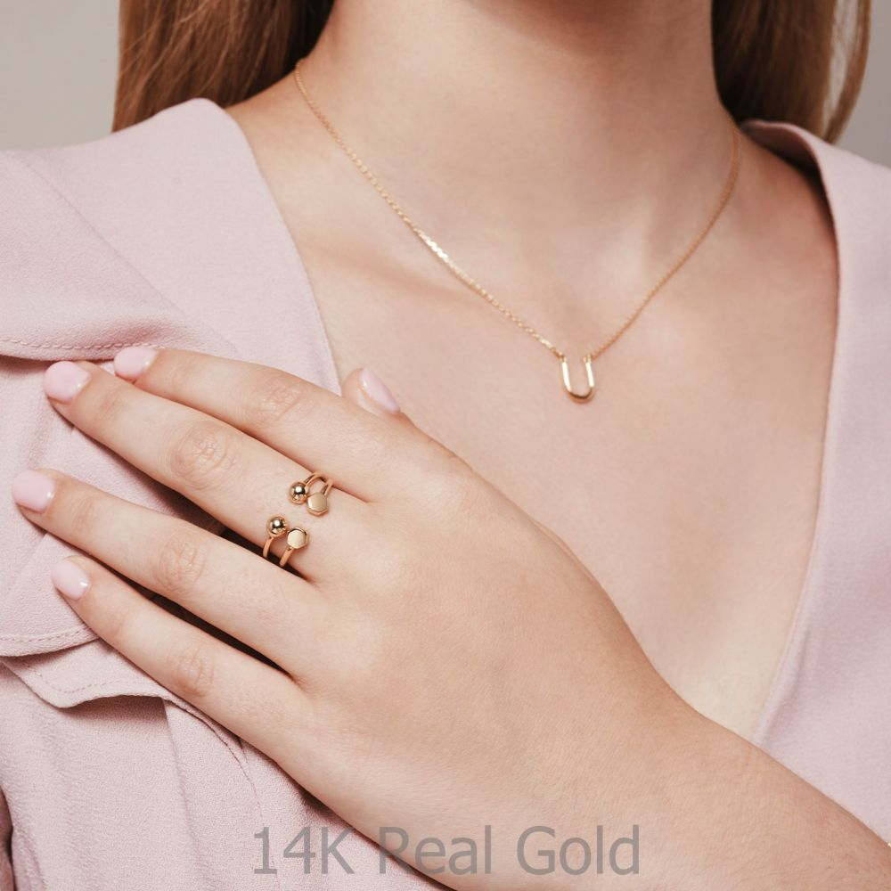תכשיטי זהב לנשים | טבעת פתוחה מזהב צהוב 14 קראט - הקסגונים
