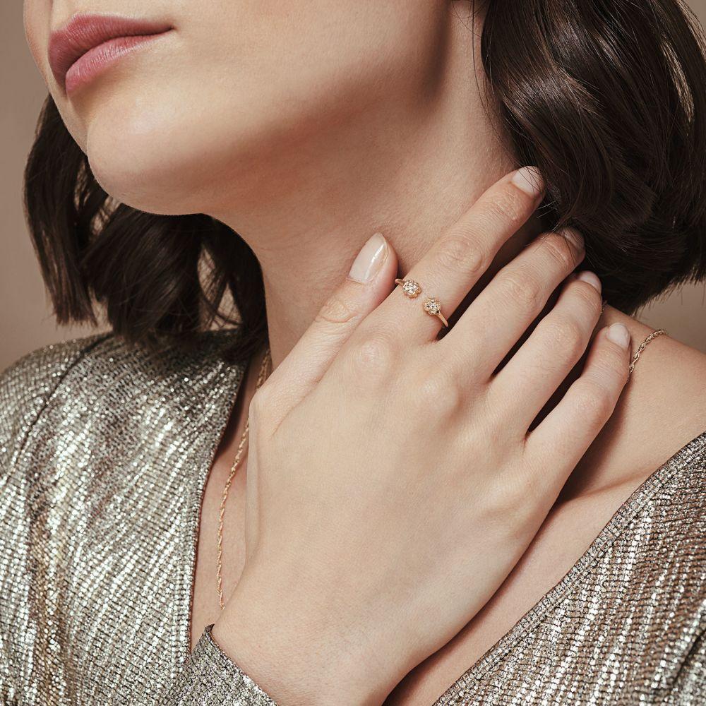 תכשיטי זהב לנשים | טבעת פתוחה מזהב צהוב 14 קראט - תלתנים נוצצים