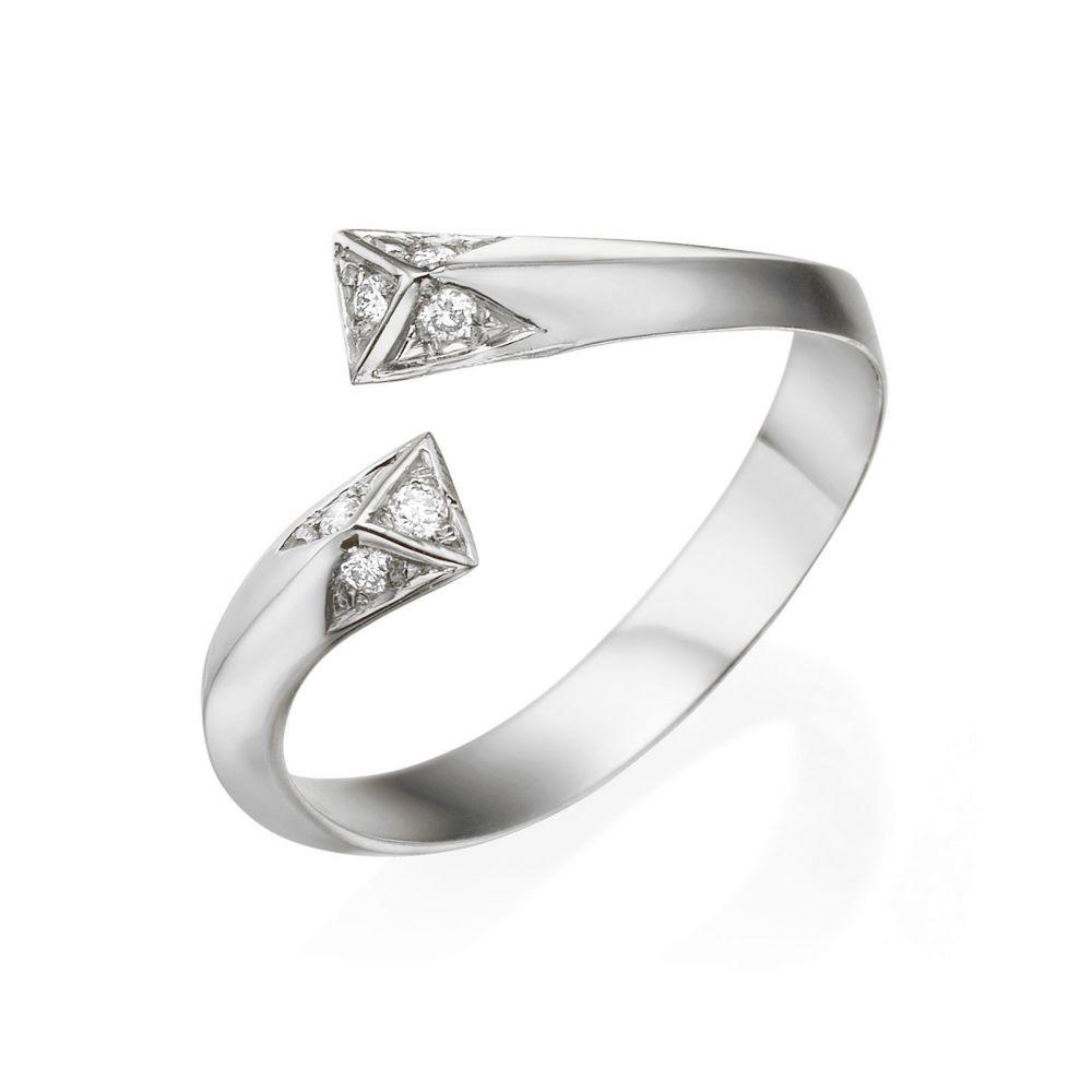 תכשיטי יהלומים | טבעת יהלום מזהב לבן 14 קראט - אפרודיטה