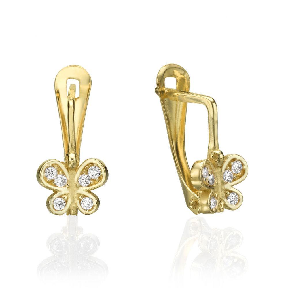 Sale | עגילי זהב תלויים - פרפרים נוצצים
