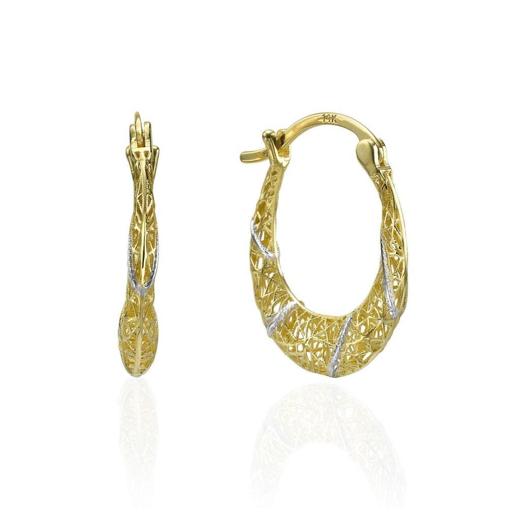 תכשיטי זהב לנשים   עגילי חישוק מזהב -  חישוק וויט אנד יילאו