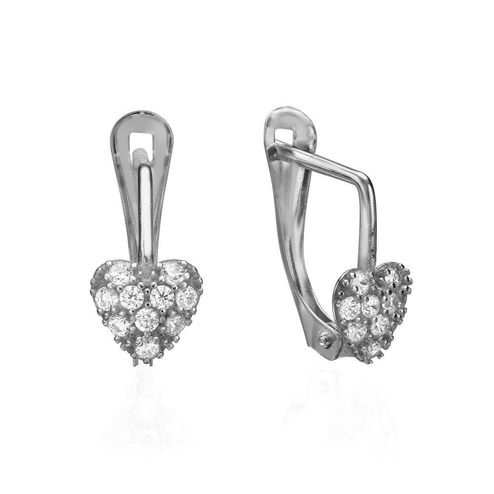 עגילי זהב | עגילי זהב לבן תלויים - לב זוהר
